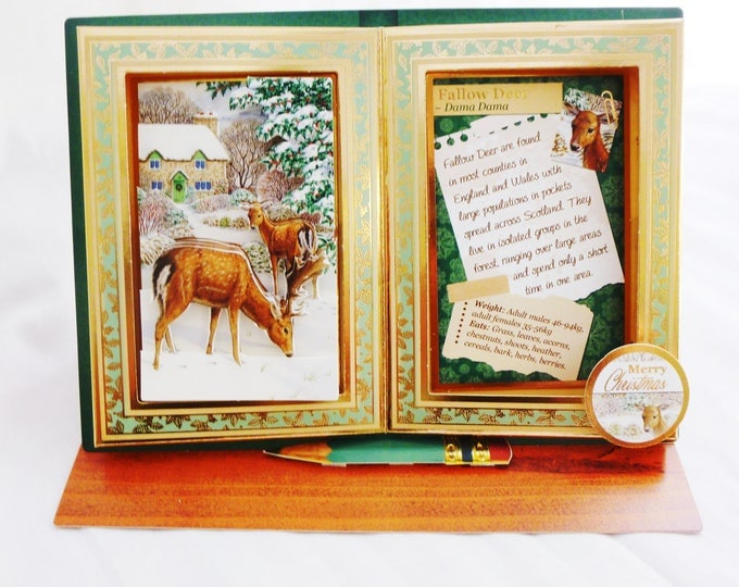 Fallow Deer Christmas Card, Greeting Card, 3D Decoupage, Book Shape Card, Easel Card, Any Age, Mum, Dad, Brother, Son, Daughter