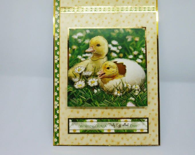 Ducklings Hatching, Fluffy Ducklings, 3 D Decoupage, Greeting Card, Birthday Card, Easter Card, Flowers, Daisy's, Female, Any Age,