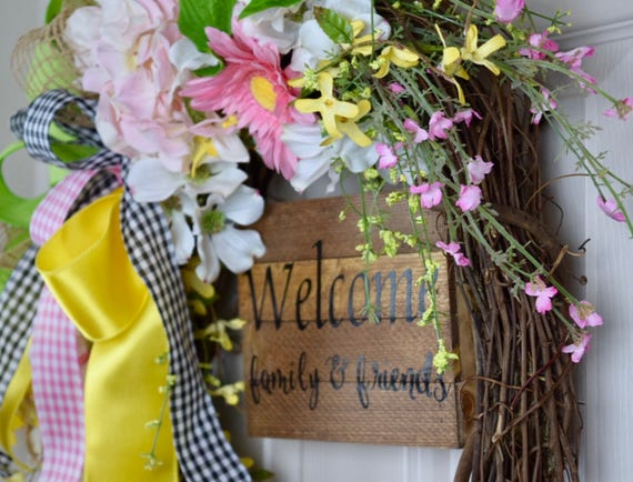 Welcome Family and Friends Spring Floral Grapevine; Everyday Wreath with Hydrangea; Floral Wreath with Flowers and Welcome Sign Pastel Color