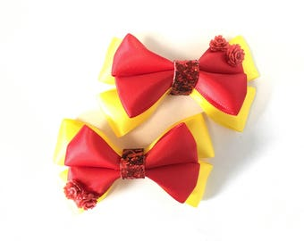 Belle hair bow, Beauty and the Beast, red, gold, rose, hairbow, Disney princess, clip, women, girls, baby, birthday party