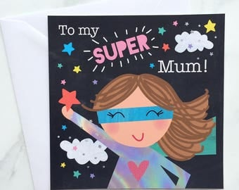 Card for Mum, Mum Super Hero Card, Mother's Day Card, Super Mum Card, Mum Birthday Card, Mum Card, Mom Card, Mum Hero Card, Super Hero Cape