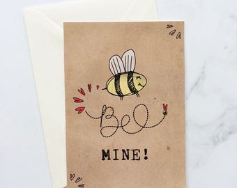 Valentines Card, Valentines Day Card, Love Card, Bee Mine Card, Us Always Card, Card for Her, Card for Him, I Love You Card, I love You