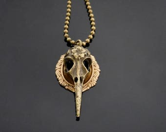 Raven Skull Necklace | Bird Skull Necklace | Skull Necklace | Raven Pendant | Bird Jewelry | Bird Skull | Silver Raven | Ornithology Jewelry