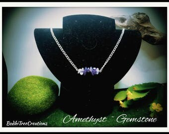 Amethyst Gemstone chip necklace
