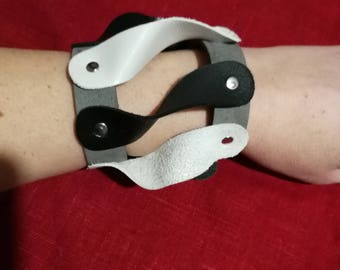 Black and white leather bracelet, genuine leather wristband, first class leather cuff bracelet, wrist band,