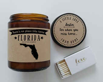 Florida Scented Candle Missing Home Homesick Gift Moving Gift New Home Gift No Place Like Home State Candle Miss You Mothers Day Gift