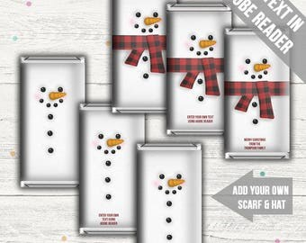 Snowman Candy Bar Wrappers. Includes Blank Template. Add Your Own Text. Instant download.