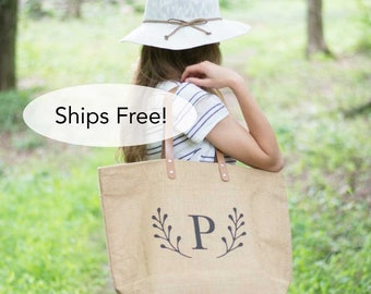 Large Monogrammed Tote Bag for Work | Zippered Diaper Bag | Jute Bag for Women Burlap Tote | Deer Antler Monogram Gifts for Women