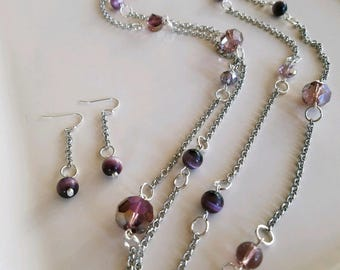Long plum colored silver plated glass bead necklace