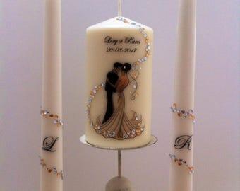 Custom wedding candles.