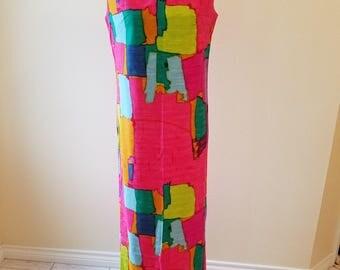 Vintage Malia Hawaii Maxi Dress, vintage hawaiian dress, vintage dress,vintage clothing,vintage Malia, sheath dress,summer dress,pink dress