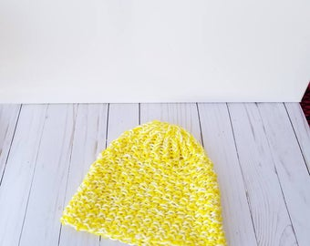 Yellow Knit Hat, Yellow Beanie, Yellow Winter Hat, Loom Hat, Knit Hat Women, Knit Winter Hat, Knit Womens Beanie, Loom Knitted Hats