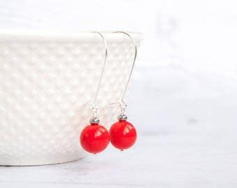 Red earrings for prom, Red ball earrings, Red dangle earrings, Red earrings long, Red earrings dangle