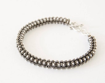 Sterling Silver Bracelet, Oxidized Silver Bracelet, Byzanite Bracelet, 7 Inch Bracelet, Rope Bracelet, Ethnic Silver Bracelet, Jewelry Gift