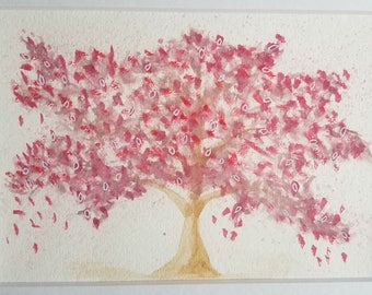 Pink tree in bloom, original watercolor painting