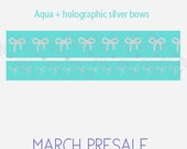 PRESALE - Aqua with silver holographic foil bow washi tape set - 15mm and 10mm