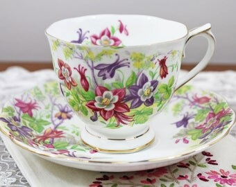 "Vintage Royal Albert ""Columbine"" English Bone China Teacup and Saucer - Countess Shape - Gifts for Her, Tea Party"
