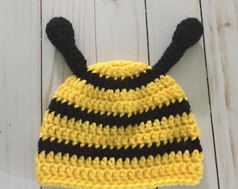 Newborn Bee hat, Crochet Bee Hat Beanie, Bee Hat, Bumble Bee hat, Photo Prop, Halloween costume, Bee costume, sizes to Adult