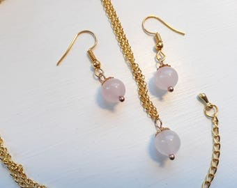 Rose Quartz Jewellery Set
