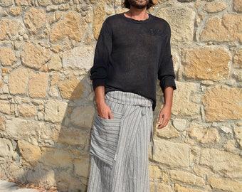 CAPRI. Men's Grey striped pure linen pareo. Loose hanging pocket.