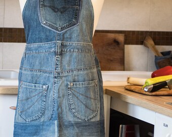 Recycled jeans cooking/working bib apron, recycled denim cooking apron,blue cooking apron.