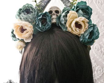 Gothic flower horn and skull headband-gothic skull headpiece-  flower headpiece-skull headpiece-horn headpiece-ready to ship