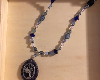 Blueberry Quartz and Tree pendant necklace (26 inches)
