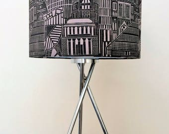 Manchester print lampshade, Manchester skyline, Manchester Architecture, mid grey black ink