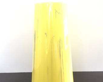 Glass Vase Hand Painted (Yellow Grey and White)