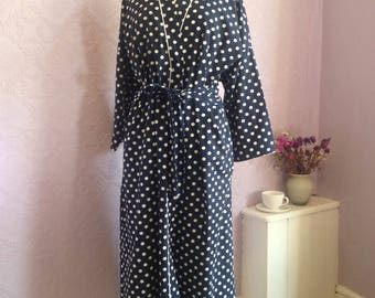 Retro Navy Blue Polka Dot Dressing Gown by St Michael.  Classic Long Robe, size Large