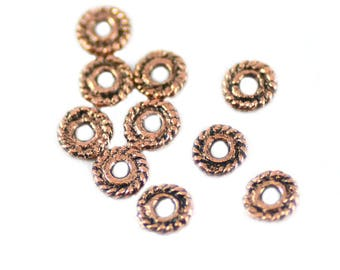 Bali Style Antiqued Copper Alloy Pewter Pinwheel Spacers 5mm - Package of 10