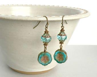 Teal Flower Earrings, Ocean Blossoms Earrings, Czech Glass Flower Earrings, Teal Jewelry, Summer Jewelry