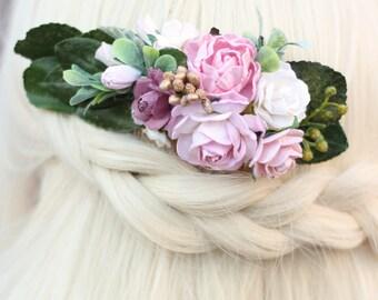 Flower Comb, Blush Bridal Hair Comb, Wedding Comb Hair, Leaf Wedding Hair, Rose Hair Clip, Bridal Head piece, Preserved Leaf Eucalyptus Comb