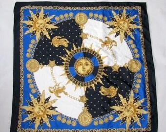 Vintage SCARF Italian slide scarf pattern sky zodiac sun moon shawl