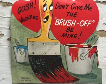 Vintage Painter Brush Off Valentine Card Painting