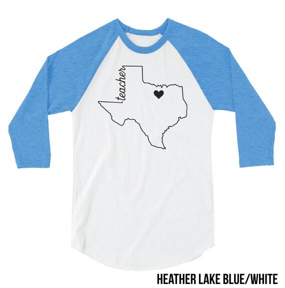 Texas Teacher Shirt | Customizable for your Town 3/4 Sleeve Raglan | Teacher T-shirt| School Spirit | Personalized