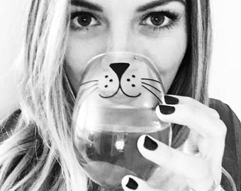 Cat Whiskers Wine Glass, Meow, Cat Lover Gift, Kitten Wine Glass, Cat Wine Glass, Cat Lover Gift, Friday the 13th, Cat Whiskers