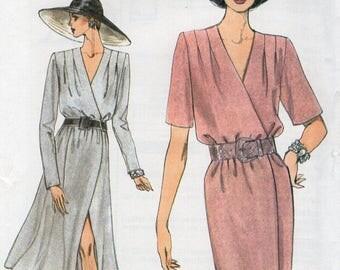 Free Us Ship Sewing Pattern Vogue 9005 Mock Wrap Dress Retro 1990s 90's Size 6 8 10 12 14 16 Bust 30.5 31.5 32.5 34 36 38 Uncut