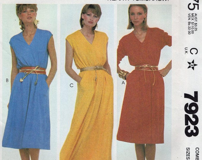 FREE US SHIP Vintage Retro 1980s 80's Sewing Pattern McCalls 7823 Make it Tonight Pullover V Neck Maxi Dress Size 6 8 10 Bust 30.5 31.5 32