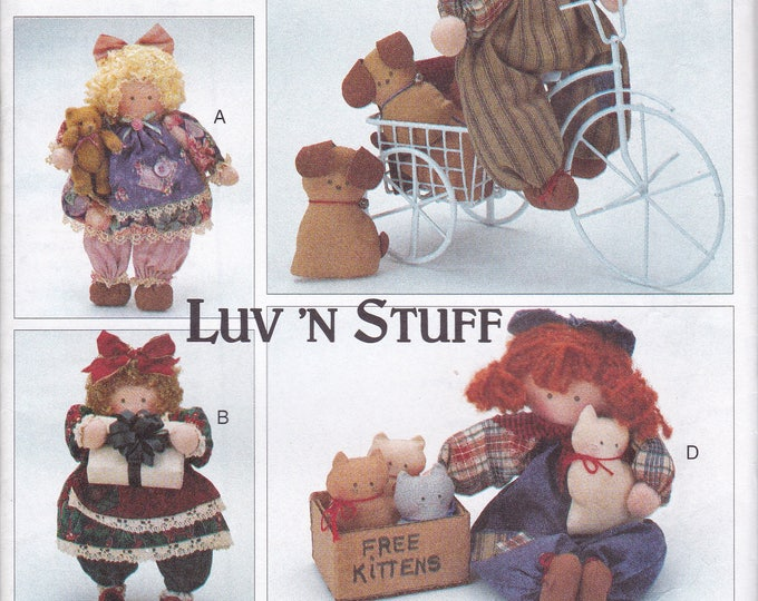 Butterick 3789 Free Us Ship Sewing Pattern Boy Girl Doll on Bike Gifts Free Kittens Angels Christmas  1994 Uncut Luv 'N Stuff