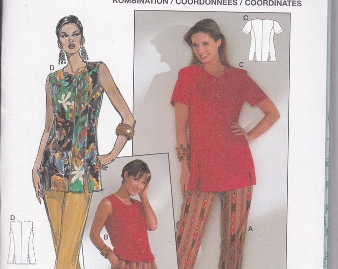 FREE US SHIP Burda 3997 Retro 1990s 90's Sewing Pattern Couture Tunic Top Pants Size 8 10 12 14 16 18  Bust 31.5 32 34 36 38 40 Plus Uncut