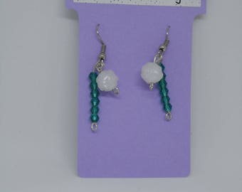 Earrings beaded flower and bicone beads