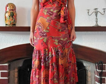 Vintage boho gypsy red floral chiffon embellished embroidered dress.size s
