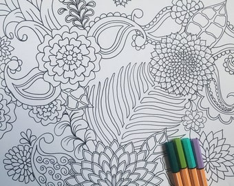 Floral, Paisley, Zen Tangle, Adult Coloring Page