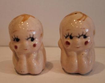 Kewpie Doll Salt and Pepper Shakers - Ceramic Baby Shakers - Made in Japan