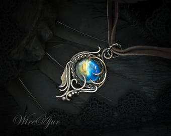 Wire wrapped labradorite choker dragon necklace gift for women copper pendant Mothers Day gift for girlfriend by WireAjur wire wrap necklace