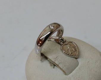 925 christening ring with clear Crystal and heart pendant with Angel TR105