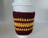 Scarlet and Gold Coffee Sleeve - Tea Mug Cozy Crochet Maroon Red and Yellow