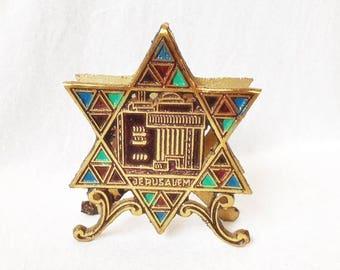 Jerusalem Napkin Holder 4x4.75 Inches Vintage Jewish Napkin Holder Star Of David