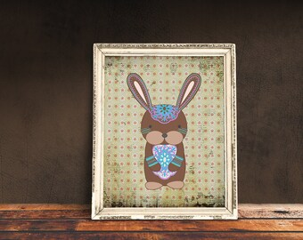 Boho Bunny | Bohemian Nursery, Tribal Nursery, Tribal Baby Room, Immediate Download, Printable Poster | Bohemian Animal, Baby Animals